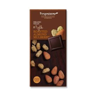 БИО Натурален шоколад с Печени Бадеми и Черница, 70% какао 70гр БЕНДЖАМИСИМО | Dark chocolate with Roasted Almonds and Mulberries, 70% cocoa 70g BENJAMISSIMO