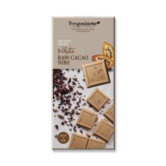 БИО Бял шоколад със сурови Какаови зърна 70гр БЕНДЖАМИСИМО | White chocolate with raw cacao nibs 70g BENJAMISSIMO