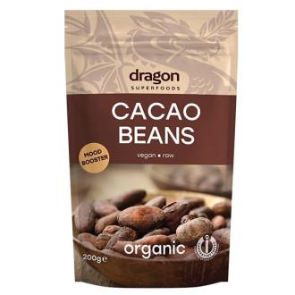БИО Какаови зърна, цели 100гр или 200гр ДРАГОН СУПЕРФУУДС | BIO Cacao beans 100g or 200g DRAGON SUPERFOODS