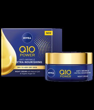 НИВЕА Q10+ ПАУЪР ЕКСТРА+ Подхранващ нощен крем против бръчки за суха кожа 50мл | NIVEA Q10+ POWER EXTRA+ Nourishing anti-wrinkle night cream 50ml