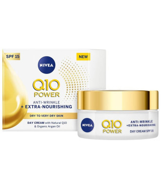 НИВЕА Q10+ ПАУЪР ЕКСТРА+ Подхранващ дневен крем против бръчки SPF15 50мл | NIVEA Q10+ POWER EXTRA+ Nourishing anti-wrinkle day cream SPF15 50ml