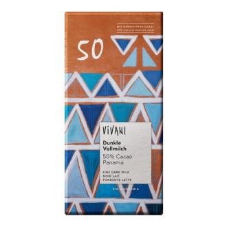 БИО Тъмен млечен шоколад 50% какао 80гр ВИВАНИ | BIO Dark milk chocolate 50% cocoa 80g VIVANI