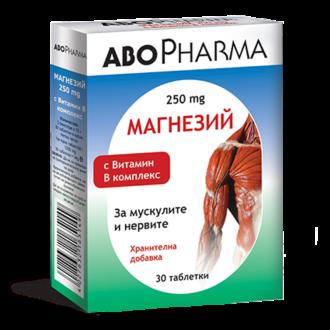 МАГНЕЗИЙ + ВИТАМИН В КОМПЛЕКС 30 таблетки АБОФАРМА   MAGNESIUM + VITAMIN B COMPLEX 30 tabs ABOPHARMA
