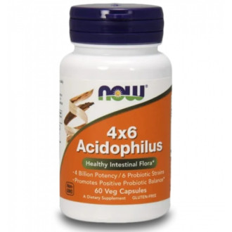 АЦИДОФИЛУС 4х6 капсули 60 бр. НАУ ФУУДС | ACIDOPHILUS 4x6 caps 60s NOW FOODS