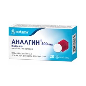 АНАЛГИН 500мг таблетки x 20бр СОФАРМА | ANALGIN 500mg tablets x 20s SOPHARMA