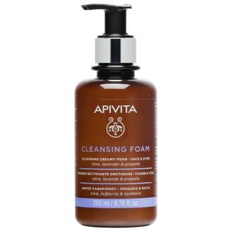 Почистваща и дегримираща пяна за лице и околоочен контур х 200мл АПИВИТА   Cleansing foam face and eyes x 200ml APIVITA