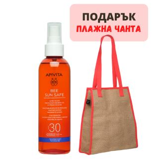 Слъцезащитно олио SPF30 х 200мл БИЙ СЪН СЕЙВ + ПОДАРЪК Плажна чанта АПИВИТА   Tan perfecting Body oil SPF30 x 200ml BEE SUN SAFE + GIFT Beach bag APIVITA