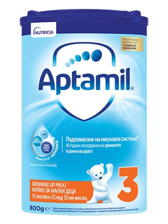 АПТАМИЛ 3 с Pronutra+ Преходно мляко 12+ м. 800гр. | APTAMIL 3 with Pronutra+ Growing up milk formula 12+ 800g