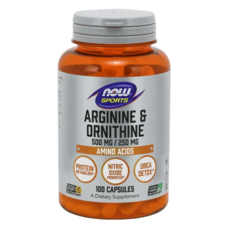 АРГИНИН/ОРНИТИН 500/250мг капсули 100 бр. НАУ ФУУДС | ARGININE/ORNITHINE 500/250mg caps 100s NOW FOODS