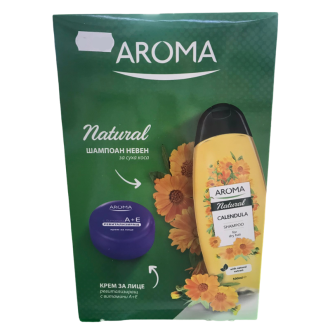 КОМПЛЕКТ Шампоан с невен АРОМА НАТУРАЛ х 500мл + Крем за лице АРОМА ВИТАМИНИ A+E Ревитализиращ x 75мл | KIT Shampoo marigold AROMA NATURAL x 500ml + Face cream AROMA VITAMINS A+E Revitalizing x 75ml