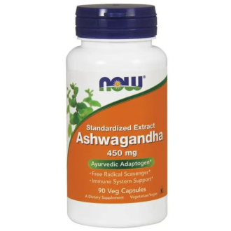 АШВАГАНДА 450мг капсули 90 бр. НАУ ФУУДС | ASHWAGANDHA 450mg caps 90s NOW FOODS