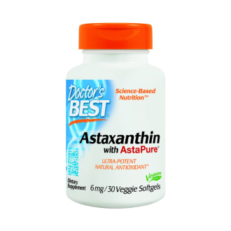 АСТАКСАНТИН 6мг. 30 меки капс. ДОКТОРС БЕСТ | АSTAXANTIN with AstaPure 6mg 30 soft gels DOCTOR'S BEST