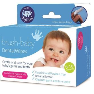 БРЪШ-БЕЙБИ Почистващи кърпички за венци и зъбки с Kсилитол 0-16м. 28бр. | BRUSH-BABY Dental wipes whit Xylitol 0-16mths Box of 28 wipes