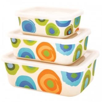 ЕКО КУТИИ ОТ БАМБУК ЗА СЪХРАНЕНИЕ НА ХРАНА Цветни кръгове 3 бр. БАЛЕВ БИО | ECO BAMBOO BOXES Colorful circles 3s BALEV BIO