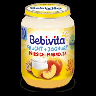 БЕБИВИТА Йогурт с плодове - праскова и маракуя 10+ м. 190гр. | BEBIVITA Yoghurt with fruits - peach and passion fruit 10+ 190g
