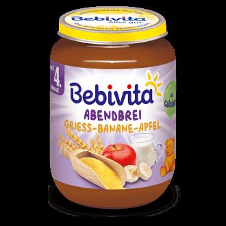 "БЕБИВИТА Каша ""Лека нощ"" Грис с банан и ябълка 4+ м. 190гр. | BEBIVITA ""Good night"" mash with Semolina, banana and apple 4+ 190g"