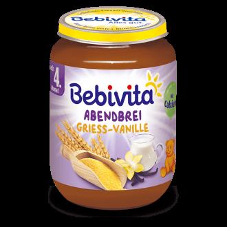 "БЕБИВИТА Каша ""Лека нощ"" Грис с ванилия 4+ м. 190гр. | BEBIVITA ""Good night"" mash Semolina with vanilla 4+ 190g"