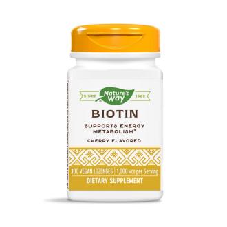 БИОТИН (Витамин Б7) 1000мкг. 100бр. дъвчащи табл. НЕЙЧЪР'С УЕЙ | BIOTIN (Vitamin B7) 1000mcg 100s lozenges NATURE'S WAY