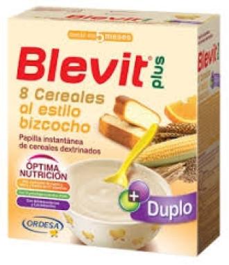 БЛЕВИТ ПЛЮС ДУПЛО Каша 8 зърнени храни с кейк портокал с бифидус ефект 600гр | BLEVIT PLUS DUPLO 8 Cereales al estilo bozcocho 600g
