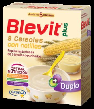 БЛЕВИТ ПЛЮС ДУПЛО Каша 8 зърнени храни с крем с бифидус ефект 600гр | BLEVIT PLUS DUPLO 8 Cereales con natillas 600g