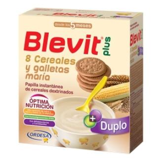 БЛЕВИТ ПЛЮС ДУПЛО Каша 8 зърнени храни с бисквити с бифидус ефект 600гр | BLEVIT PLUS DUPLO 8 Cereales y galletas maria 600g
