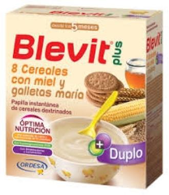 БЛЕВИТ ПЛЮС ДУПЛО Каша 8 зърнени храни с мед и бисквити с бифидус ефект 600гр | BLEVIT PLUS DUPLO 8 Cereales con miel y galletas maria 600g