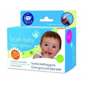 БРЪШ-БЕЙБИ Почистващи кърпички за венци и зъбки 0-16м. 20бр. | BRUSH-BABY Dental wipes 0-16mths Box of 20 wipes