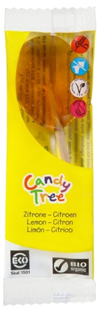 БИО Близалка Лимон 1бр x 13гр КЕНДИ ТРИ | BIO Lollipop Lemon 1s x 13g CANDY TREE