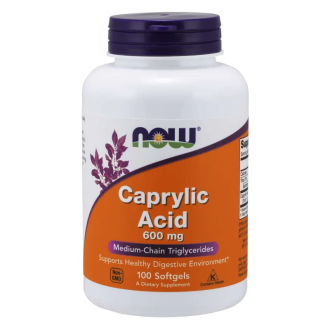 КАПРИЛОВА КИСЕЛИНА 600мг капсули 100 бр. НАУ ФУУДС | CAPRYLIC ACID 600mg caps 100s NOW FOODS