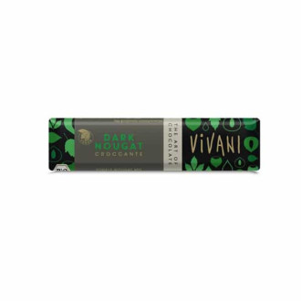 БИО Шоколадов Бар с Тъмна нуга и Крокант (веган) 35гр ВИВАНИ | BIO Chocolate Bar with Dark nougat and Croccante (vegan) 35g VIVANI