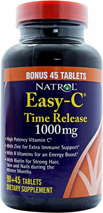 ИЙЗИ С С ЦИТРУСОВИ БИОФЛАВОНОИДИ 1000 мг. с удължено освобождаване 90+45 таблетки НАТРОЛ | EASY C CITRUS BIOFLAVONOIDS 1000 mg 90+45 tabs NATROL
