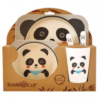 ЕКО ДЕТСКИ КОМПЛЕКТ ЗА ХРАНЕНЕ ОТ БАМБУК Панда 5 части БАЛЕВ БИО | ECO BAMBOO KIDS DINNERWARE SET Panda 5 pieces BALEV BIO