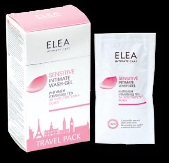 ЕЛЕА Интимен измивен гел Чувствителна кожа - удобни мини разфасовки за път 10 х 15мл | ELEA Intimate care Sensitive Travel pack 10 x 15ml