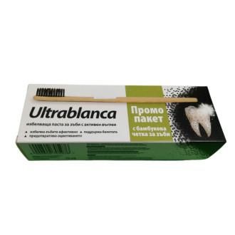 УЛТРАБЛАНКА ПРОМО ПАКЕТ Избелваща паста за зъби с активен въглен x 75мл + Бамбукова четка за зъби | ULTRABLANC PROMO SET Charcoal whitening toothpaste x 75ml + Bamboo toothbrush