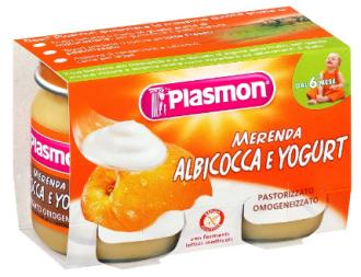 ПЛАЗМОН Десерт Йогурт с кайсия 2x120гр | PLASMON Merenda Albicocca e yogurt 2x120g