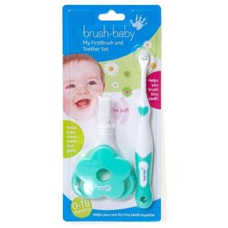 БРЪШ-БЕЙБИ СЕТ Моята първа четка за зъби + Чесалка за зъби 1бр. | BRUSH-BABY MY FIRSTBRUSH™ SET Toothbrush + Teether 1s