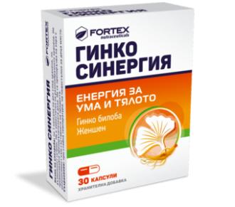ГИНКО СИНЕРГИЯ С ЖЕНШЕН 30 таблетки ФОРТЕКС | GINKO SYNERGIA 30 tabs FORTEX