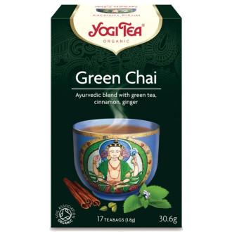 "ЙОГИ ОРГАНИК БИО Аюрведичен зелен чай, пакетчета 17бр | YOGI ORGANIC BIO Ayurvedic green tea blend ""Green chai"" teabags 17s"
