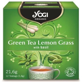 ЙОГИ ОРГАНИК БИО Зелен чай с Лимонена трева, пакетчета 12бр   YOGI ORGANIC BIO Green tea with lemon grass, teabags 12s