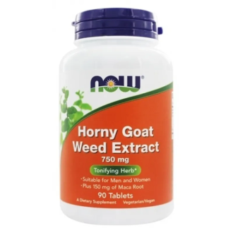 ЕПИМЕДИУМ 750мг таблетки 90 бр. НАУ ФУУДС | HORNY GOAT WEED EXTRACT 750mg tabs 90s NOW FOODS