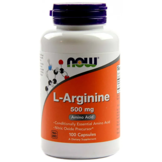 Л-АРГИНИН 500мг капсули 100 бр. НАУ ФУУДС | L-ARGININE 500mg caps 100s NOW FOODS