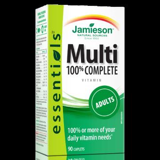 МУЛТИВИТАМИНИ ЗА ВЪЗРАСТНИ МУЛТИ 100% КЪМПЛИЙТ каплети 90бр ДЖЕЙМИСЪН | MULTI 100% COMPLETE caplets 90s JAMIESON