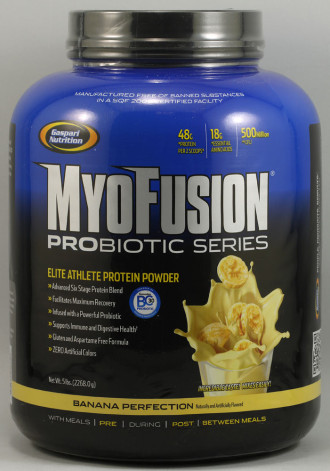 МИОФЮЖЪН ПРОБИОТИК – БАНАН прах 2268г ГАСПАРИ НУТРИШЪН | MYOFUSION PROBIOTIC – BANANA pwd 2268g GASPARI NUTRITION
