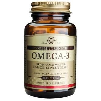 ОМЕГА-3 ДВОЙНА СИЛА меки капсули 30бр или 60бр. СОЛГАР | OMEGA-3 DOUBLE STRENGTH softgels 30s or 60s SOLGAR