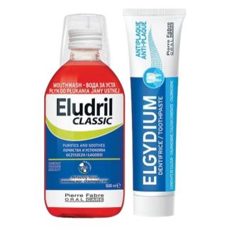 ПРОМО КОМПЛЕКТ ЕЛУДРИЛ Вода за уста КЛАСИК 500мл + ЕЛГИДИУМ Паста за зъби АНТИПЛАКА 100мл | PROMO SET ELUDRIL Mouthwash CLASSIC 500ml + ELGYDIUM Toothpaste ANTI-PLAQUE 100ml