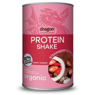 ДРАГОН СУПЕРФУУДС БИО Протеинов Шейк с Ягода и Кокос 450гр | DRAGON SUPERFOODS BIO Protein Shake Strawberry and Coconut 450g