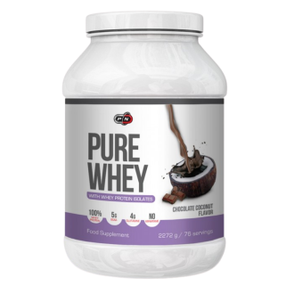 ПЮР УЕЙ - КОКОС И ШОКОЛАД+ЕНЗИМИ прах 2272гр ПЮР НУТРИШЪН | PURE WHEY - CHOCOLATE COCONUT+ENZYMES pwd 2272g PURE NUTRITION