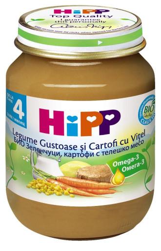 ХИП БИО Пюре Зеленчуци и картофи с телешко 4+ м. 125гр. | HIPP BIO Vegetables and potatoes with veal puree 4+ m 125g
