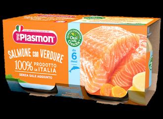 ПЛАЗМОН Пюре Сьомга и зеленчуци 6+ 2x80гр | PLASMON Salmone con verdure 6+ 2x80g