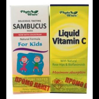 САМБУКУС НИГРА Сироп за деца с черен бъз 120мл + Витамин Ц течен 120мл ФИТО УЕЙВ | SAMBUCUS NIGRA Syrop for kids with black elderberry 120ml + Vitamin C liquid 120ml PHYTO WAVE